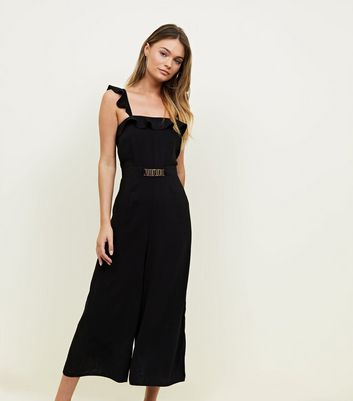 Black Ruffle Trim Wide Leg Jumpsuit