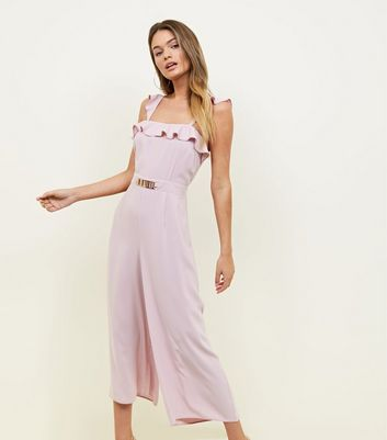 Pale Pink Ruffle Trim Wide Leg Jumpsuit