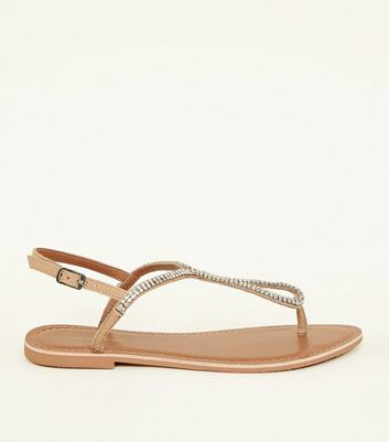 Wide Fit Nude Leather Diamanté Flat Sandals by New Look