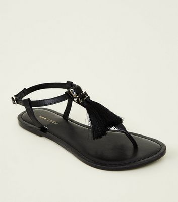 Black Leather Tassel Trim Sandals