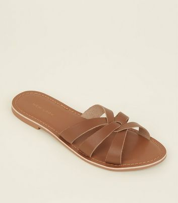 Tan Woven Leather Mules by New Look