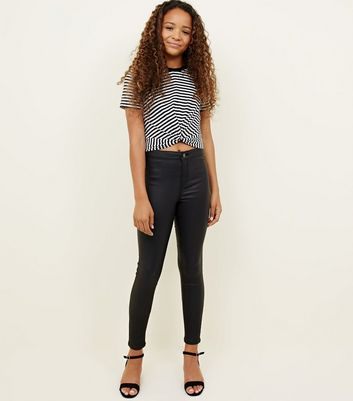 Girls Black Coated High Waist Super Skinny Jeans