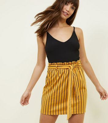 Innocence Yellow Stripe Paperbag Waist Skirt