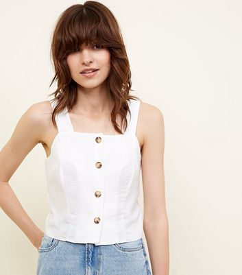 Off White Horn Button Front Cropped Cami by New Look