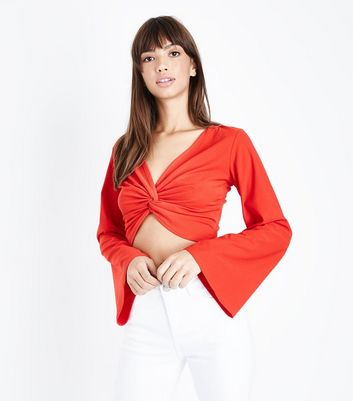 Cameo Rose Red Twist Front Crop Top