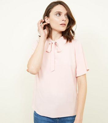 Pale Pink Tie Neck Blouse