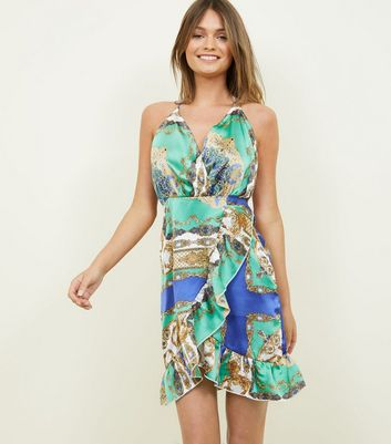 Parisian Green Baroque Satin Dress by New Look