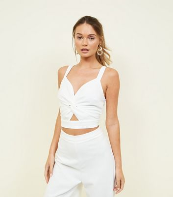 Off White Twist Cut Out Front Bralette