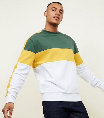 Yellow Colour Block Crew Neck Sweatshirt
