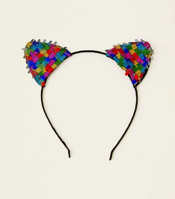 Rainbow Sequin Confetti Car Ears