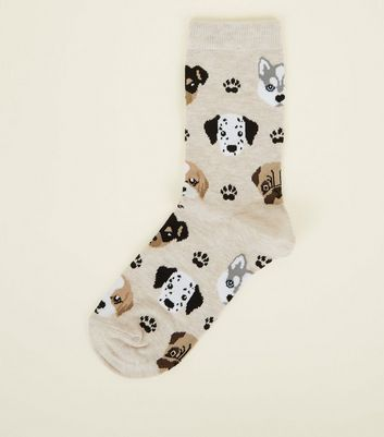 Cream Paw and Dogs Socks