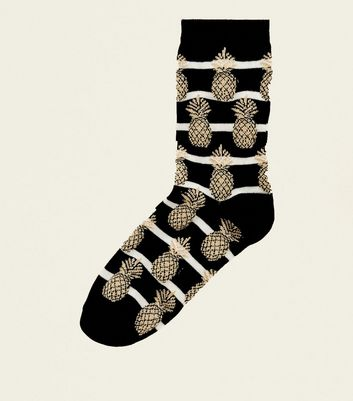 Black Pineapple Glitter Stripe Socks