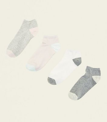 4 Pack Pink and Grey Contrast Trainer Socks