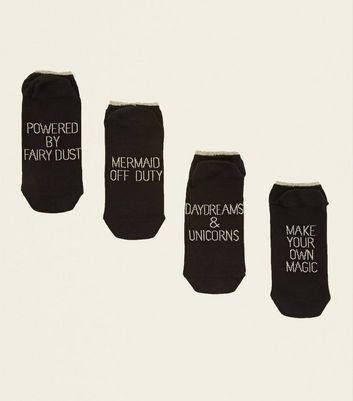4 Pack Black Slogan Trainer Socks by New Look