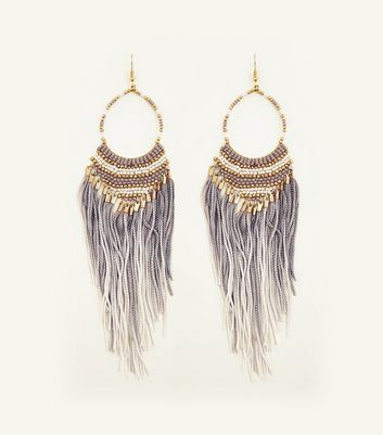 Pale Grey Ombré Tassel and Bead Earrings