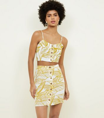 Parisian Yellow Leaf Print Button Front Skirt by New Look