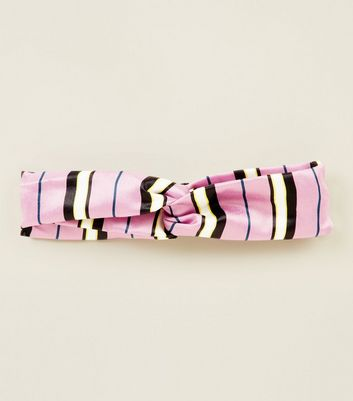 Pink Bold Stripe Twist Knot Headband