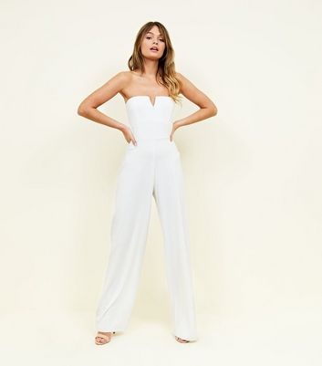 White Notch Neck Jumpsuit