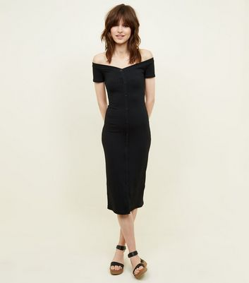 Black Ribbed Button Through Bardot Neck Dress