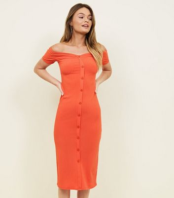 Red Ribbed Button Through Bardot Neck Dress by New Look