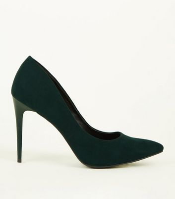 Dark Green Suedette Pointed Stiletto Heel Courts