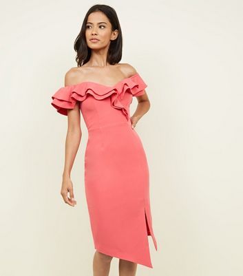 Coral Frill Trim Sweetheart Neck Bodycon Dress