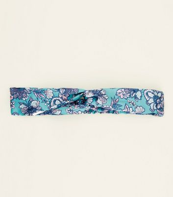 Blue Floral Print Twist Knot Headband