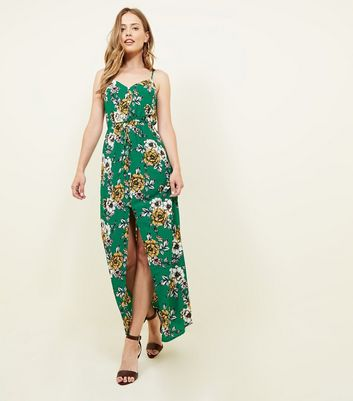 Dark Green Floral Button Up Maxi Dress