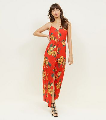 Red Floral Button Up Maxi Dress by New Look