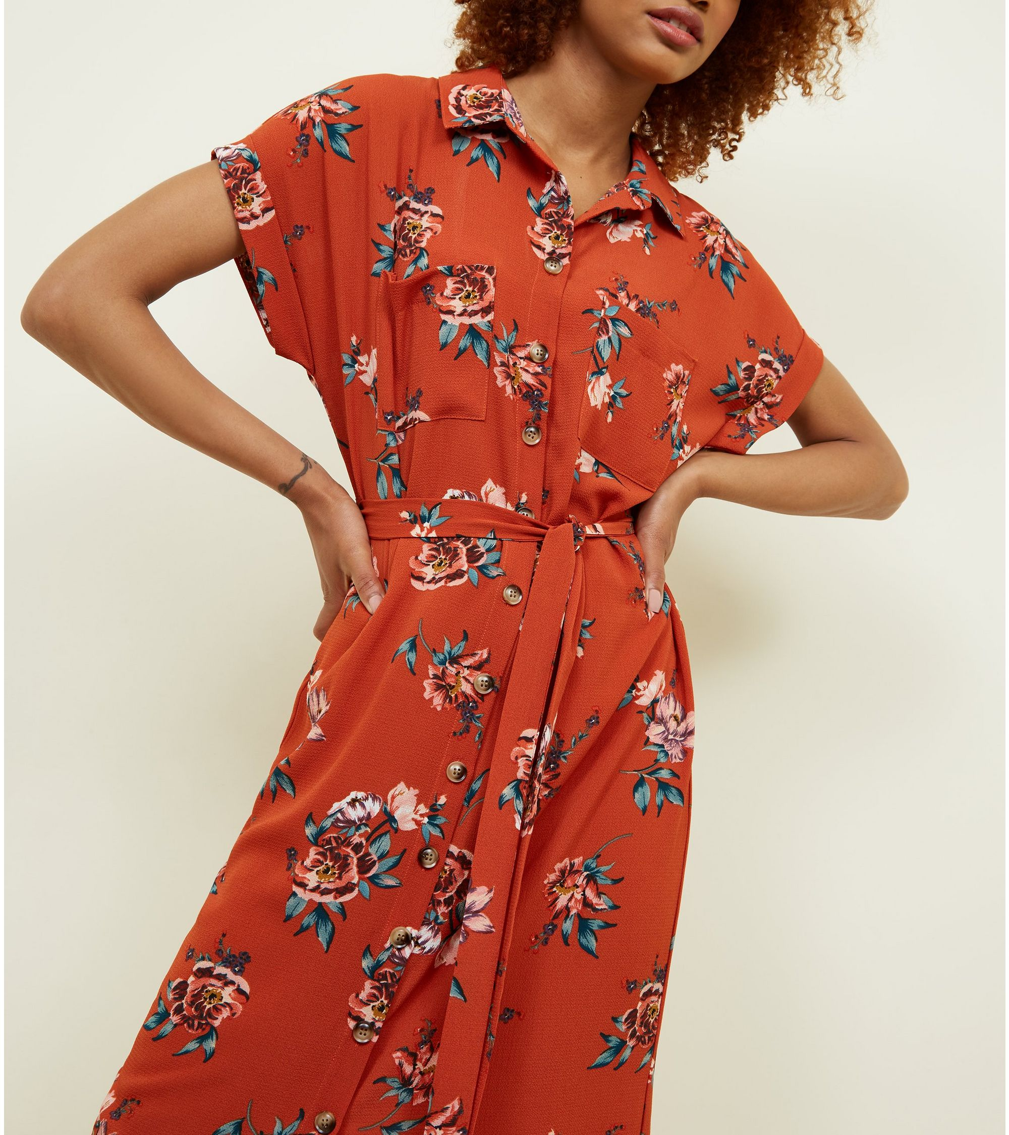 85d5085048f New Look Floral Dress Orange