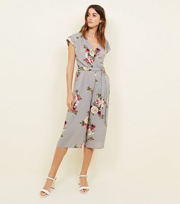 Light Grey Floral Crepe Culotte Jumpsuit by New Look