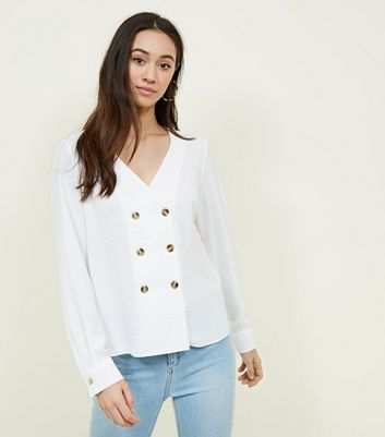 Off White Double Breasted Crepe Blouse by New Look