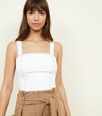 Off White Contrast Stitch Crop Top by New Look