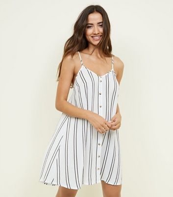 White Stripe Swing Beach Dress