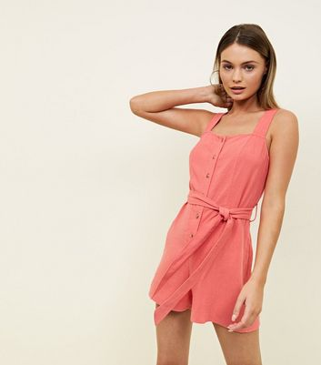 Coral Linen Look Button Through Playsuit by New Look