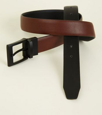 Brown and Black Reversible Buckled Belt