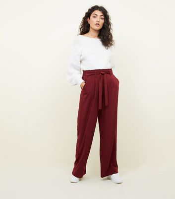 Burgundy Tie Waist Wide Leg Trousers by New Look