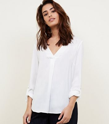 Off White Rolled Sleeve Overhead Shirt by New Look