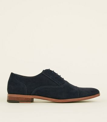 Navy Faux Suede Derby Shoes