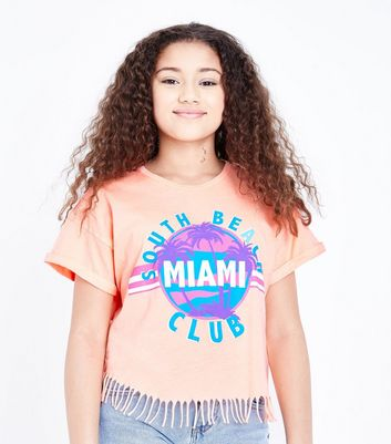 Teens Bright Orange Miami Tassel Trim T-Shirt