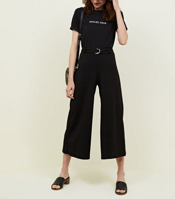 Black D-Ring Belt Cropped Trousers