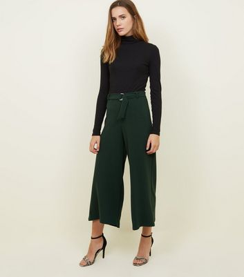 Dark Green D-Ring Belt Cropped Trousers