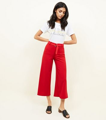 Red D-Ring Belt Cropped Trousers