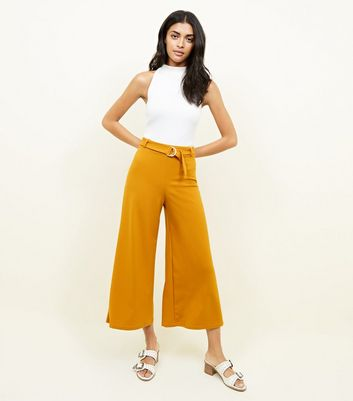Mustard D-Ring Belted Cropped Trousers