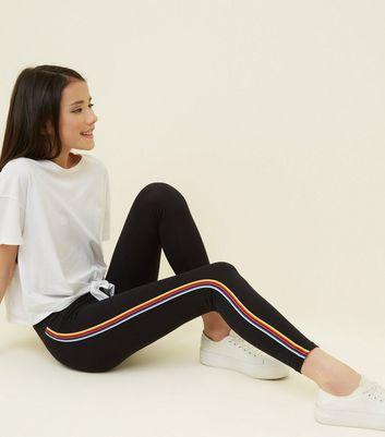 Girls Black Rainbow Stripe Side Leggings