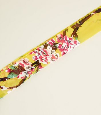 Yellow Floral Print Head Scarve
