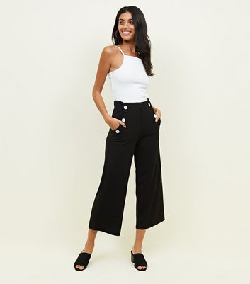 Black Button Scuba Crop Trousers