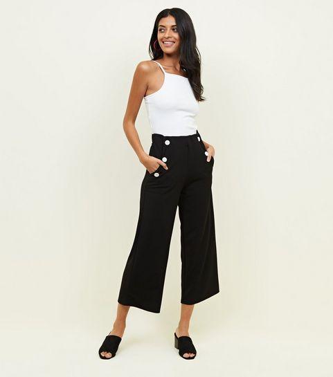 Black Button Scuba Crop Trousers .