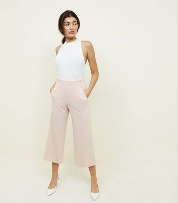 Pale Pink Scuba Button Side Cropped Trousers
