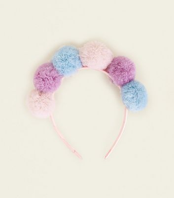 Multi Colour Pom Pom Headband